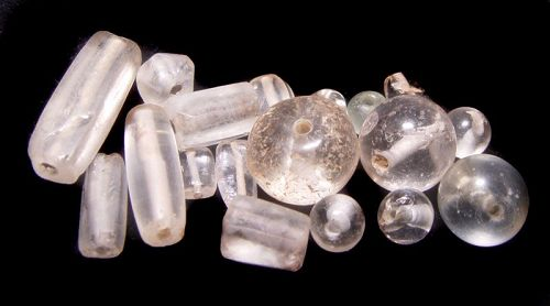 Assortment of 17 Ancient and Old Chinese Crystal Beads