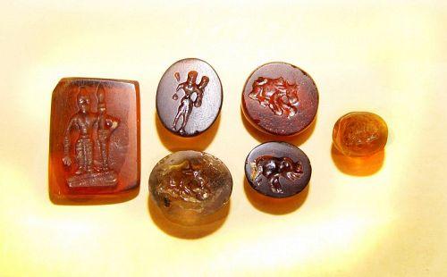 Six Rare Ancient Khmer Glass Seals/Chops -  11th Cent.