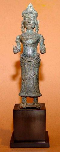 Khmer Bronze Figure of a Female Deity - 12th Century