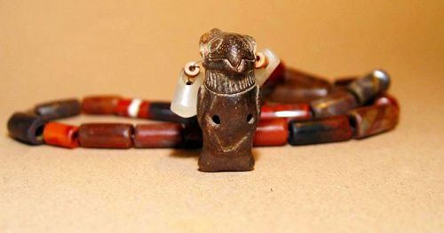 Pre Columbian Complete Bead Necklace with Bird Whistle