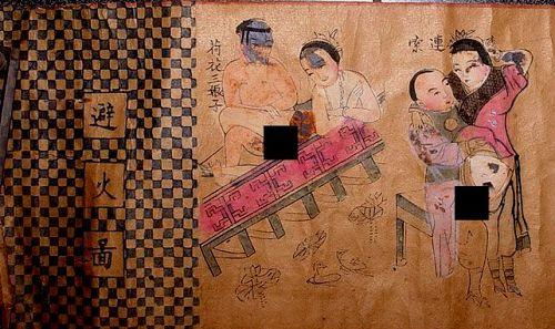Chinese Woodblock Erotic Art Scroll - Qing
