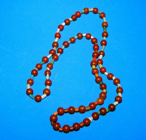 Chinese Red Glass Bead Necklace - Qing Dynasty