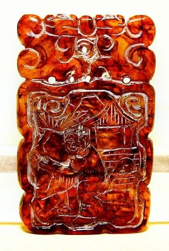 Chinese Natural Amber Pendant of Year of the Monkey