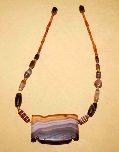 Ancient Carved Large Agate Bead Pendant -  500 - 100BC