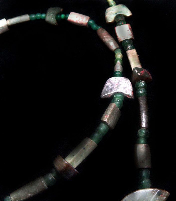 Ancient Chinese Jade and Glass Bead Necklace