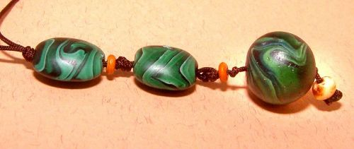 Chinese Glass Bead Pendant - Qing Dynasty