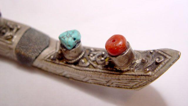 Tibetan Bone Handled & Silver Sheath Dagger 19 Century