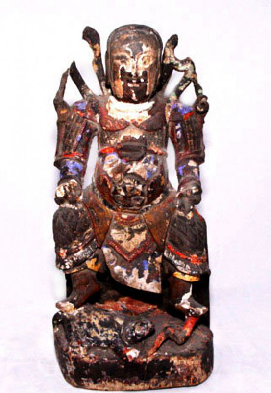 Chinese Rare Ming Wooden Statue of War God KuanTi - 16th Century