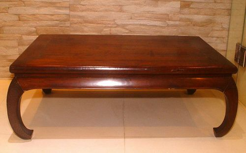 Antique Chinese Blackwood Day Bed or Low Table with Curve Legs - 19C.
