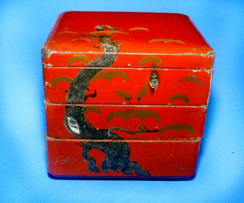 Chinese Red Lacquered Three Tiered Box � Qing