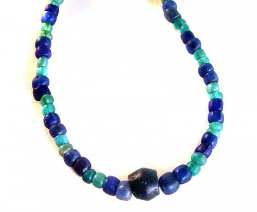 Rare Ancient Blue Glass Bead Necklace - 2000 yrs. old