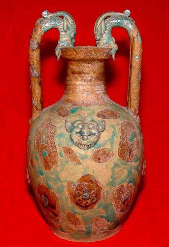 Tang Dragon Handle Stoneware Vase