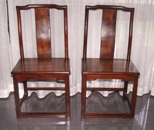 Pair Chinese Blackwood Hongmu Humpback Chairs 18th Century