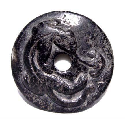 Chinese Black Han Dragon Jade Bi Disc - 206BC - 25AD