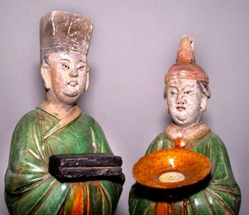 Rare Large Matching Pair of Sansai Ming Attendants 1368 - 1644 AD
