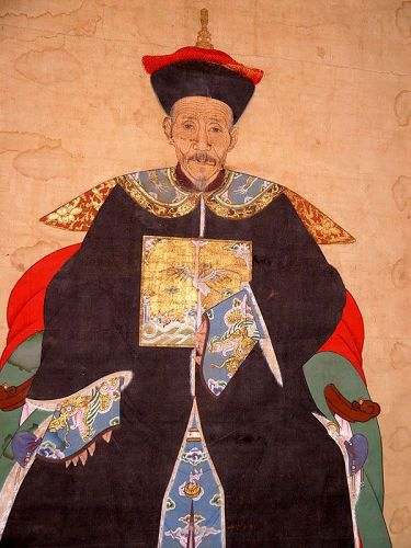 Chinese Original Ancestral Portrait of Qing First Rank Official 18 C.