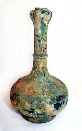 Chinese Han Bronze Garlic Vase - W.Han Dynasty -206 BC