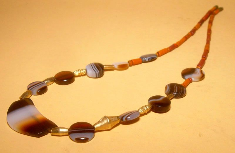 Ancient Agate Bead Necklace with Ancient Gold - 100 BC