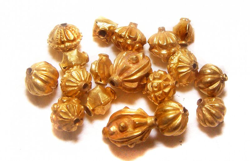 Eighteen Assorted Ancient Gold Pyu Beads 100 -500 AD
