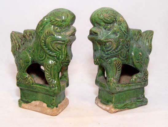 Chinese Ming Foo Lions Joss Stick Holders 1368 - 1644 AD