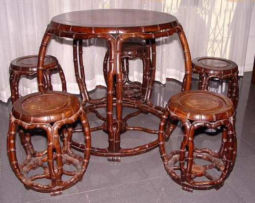 Chinese Jichimu (Chicken Wing) Drum Table and 5 Stools - 19C.
