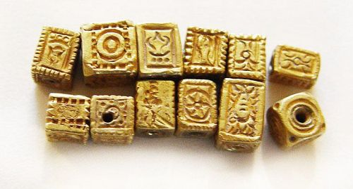 Twelve Assorted Ancient Square Gold Pyu Beads 100 -500 AD