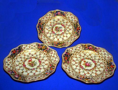 3 Dresden Gilded Antique Handpainted Dessert Platters