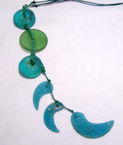 Pyu Blue & Green Ancient Glass Beads - 100BC