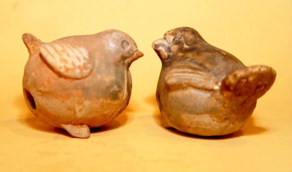 Pair of Chinese Glazed Tang Birds - 8th Century