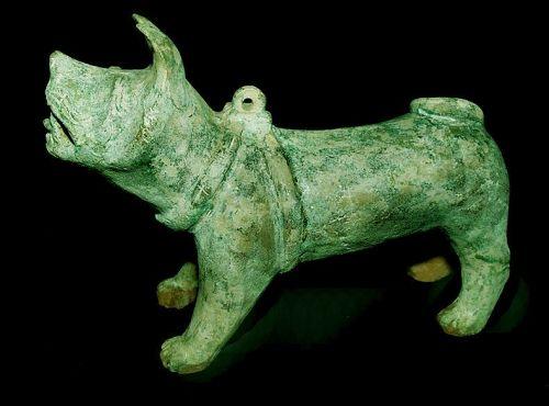 Chinese  Green Glazed Han Dog - 206BC - 220AD