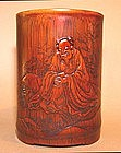 A Bamboo Brush Pot Holder w/ Seated Sage Contemplating