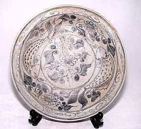 Blue and white Plate with Fish - SE Asia -15th C.
