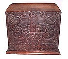 Chinese Blackwood Officials Chest w/Two Dragons-19th C.