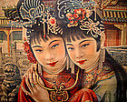 Original Old Chinese Poster with Two Girls