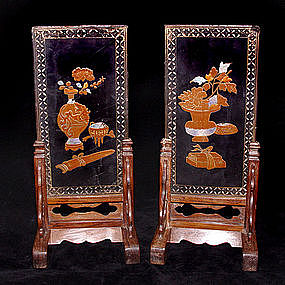 Ming Scholar's Screens on Huanghuali Stands - 1368-1644