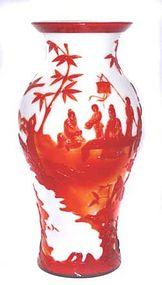 Rare Chinese Peking Red & White Glass Vase
