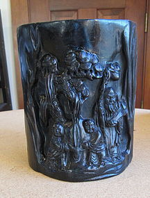 Beautifully Carved Zitan Brushpot In Wood Trunk Form
