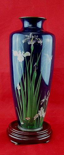 Stunning Late 19th C Japanese Cobalt Blue Cloisonne' Silver Wire Vase