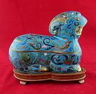 Old/Antique Chinese Bronze Cloisonne' Enamel 24K Gilt Trim Zodiac Ram