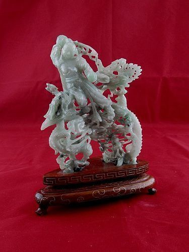 Early Jadeite Jade Vintage Carving -Deity Fighting Two Dragons