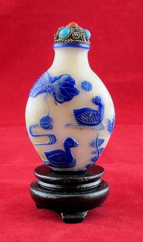19th Century -Peking Glass Snuff Bottle  Royal Blue On Milk Glass Base