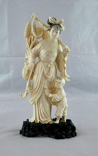Exceptional 19th Century Ivory Figure Of A Maiden And Boy