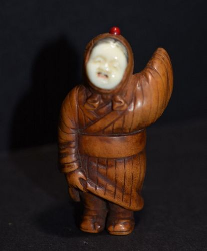 CONTEMPORARY NETSUKE, KAGURA DANCER, in the style of Yuko