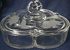 Crows Foot Etched Crystal Candy and Lid