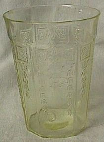 Princess Yellow Flat Water Tumbler Hocking Glass Co.