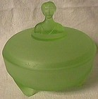 Babs I Green Frosted Powder Jar