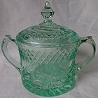 Floral & Diamond Band Green Sugar & Lid U S Glass