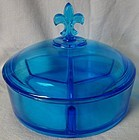 Fostoria Glass Company Blue 3 Part Candy and Lid