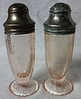 Florentine Number 1 Pink Pair Shakers Hazel Atlas Glass