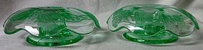 Nora Bird Green Candlestick Pair Paden City Glass